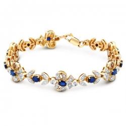 Браслет из комбинированного золота с бриллиантами и сапфирами