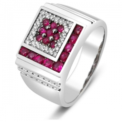 Кольцо мужское с бриллиантами и рубинами