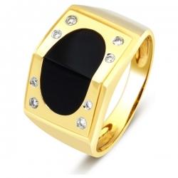 Мужское кольцо с бриллиантами и ониксом