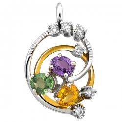 Подвеска-кулон из комбинированного золота с бриллиантами и полудрагоценными камнями