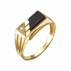 Золоченое кольцо печатка с черным агатом