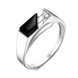 Кольцо Печатка с черным агатом