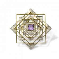Брошь из золота 750 пробы с бриллиантом