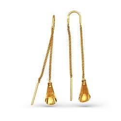 Серьги-продевки из желтого золота с цитрином