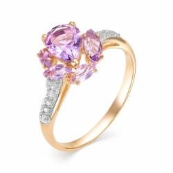 Кольцо из красного золота с аметистом