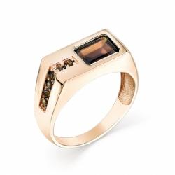 Мужское кольцо из красного золота с раухтопазом