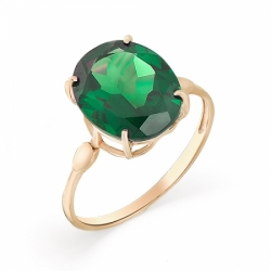 Кольцо из красного золота с изумрудом