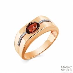 Мужское кольцо из красного золота с гранатом