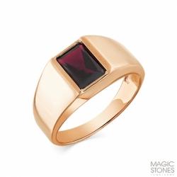 Мужское кольцо из красного золота с родолитом