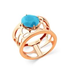Кольцо из красного золота c бирюзой