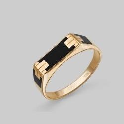 Мужское золотое кольцо с эмалью
