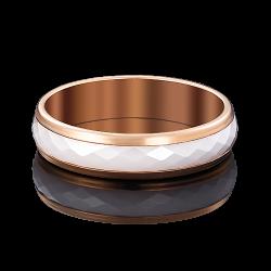 Золотое обручальное кольцо с керамикой