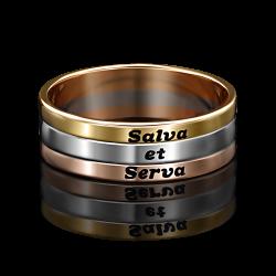 Золотое обручальное кольцо с эмалью