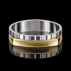 Мужское золотое кольцо без камней с алмазной гранью