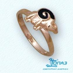 Детское золотое кольцо Барашек с эмалью