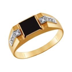 Мужское кольцо из комбинированного золота с ониксом SOKOLOV