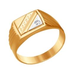 Мужское кольцо из комбинированного золота с фианитами SOKOLOV