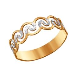 Золотое кольцо с алмазными гранями SOKOLOV
