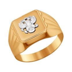 Мужское кольцо двуглавый орел из комбинированного золота без камней SOKOLOV
