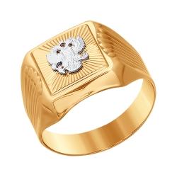 Мужское кольцо с двуглавым орлом из комбинированного золота без камней SOKOLOV