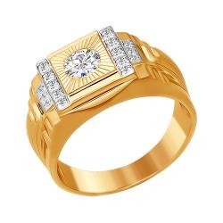 Мужское кольцо из золота с фианитами SOKOLOV