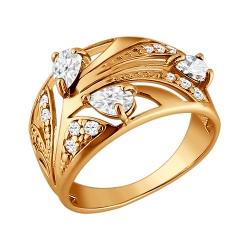 Золотое кольцо Растение c фианитами SOKOLOV