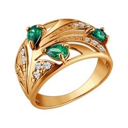 Золотое кольцо Растение c зелёными фианитами SOKOLOV