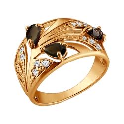 Золотое кольцо Растение c коричневыми фианитами SOKOLOV