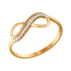 Кольцо из золота Знак бесконечность с фианитами SOKOLOV