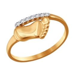 Золотое кольцо На рождение ребенка с фианитами SOKOLOV