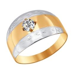 Мужское золотое кольцо с фианитами SOKOLOV