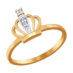 Золотое кольцо Корона с фианитами SOKOLOV