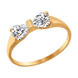 Золотое кольцо Бант с фианитами SOKOLOV (16 p-p)