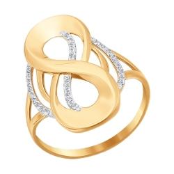 Золотое кольцо Знак бесконечности с фианитами SOKOLOV