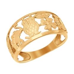 Золотое кольцо-оберег с совой без камней SOKOLOV