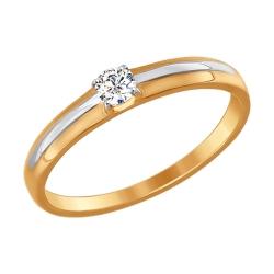 Обручальное золотое кольцо (Фианит) SOKOLOV