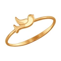 Золотое кольцо с птичкой без камней SOKOLOV