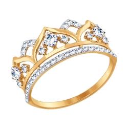 Золотое кольцо Корона с фианитом SOKOLOV