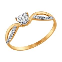 Золотое обручальное кольцо с фианитом SOKOLOV