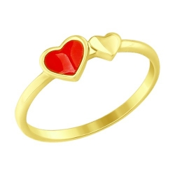 Кольцо из желтого золота с эмалью