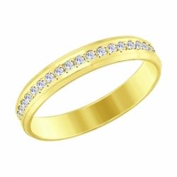 Кольцо из желтого золота с алмазной гранью с фианитами