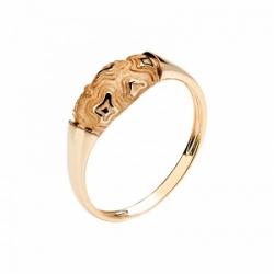 Женское кольцо Тигр из красного золота без камней