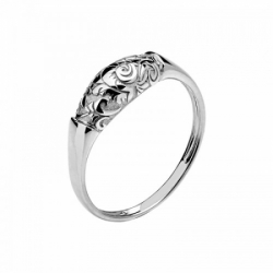 Женское кольцо Лиса из белого золота без камней