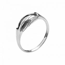 Женское кольцо Волк из белого золота без камней