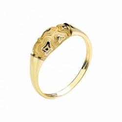 Женское кольцо Тигр из желтого золота без камней