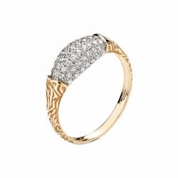Женское кольцо Медведь из красного золота с фианитом