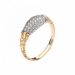 Женское кольцо Лиса из красного золота с фианитом