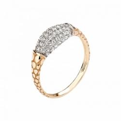 Женское кольцо Змея из красного золота с фианитом