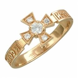 Кольцо из красного золота с фианитом