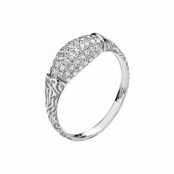 Женское кольцо Медведь из белого золота с фианитом